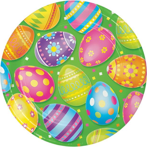 Colorful Easter Eggs Paper Plates 24 Count For 24 Guests Walmart Com Walmart Com