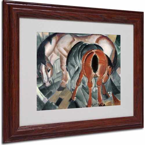"Trademark Fine Art ""Horse With Two Foals, 1912"" Matted Framed Art by Franz Marc, Wood Frame"
