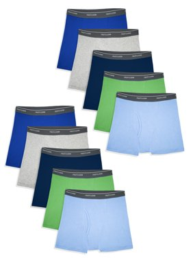 Fruit of the Loom Assorted Cotton Boxer Brief Underwear, 10 Pack (Toddler Boys)