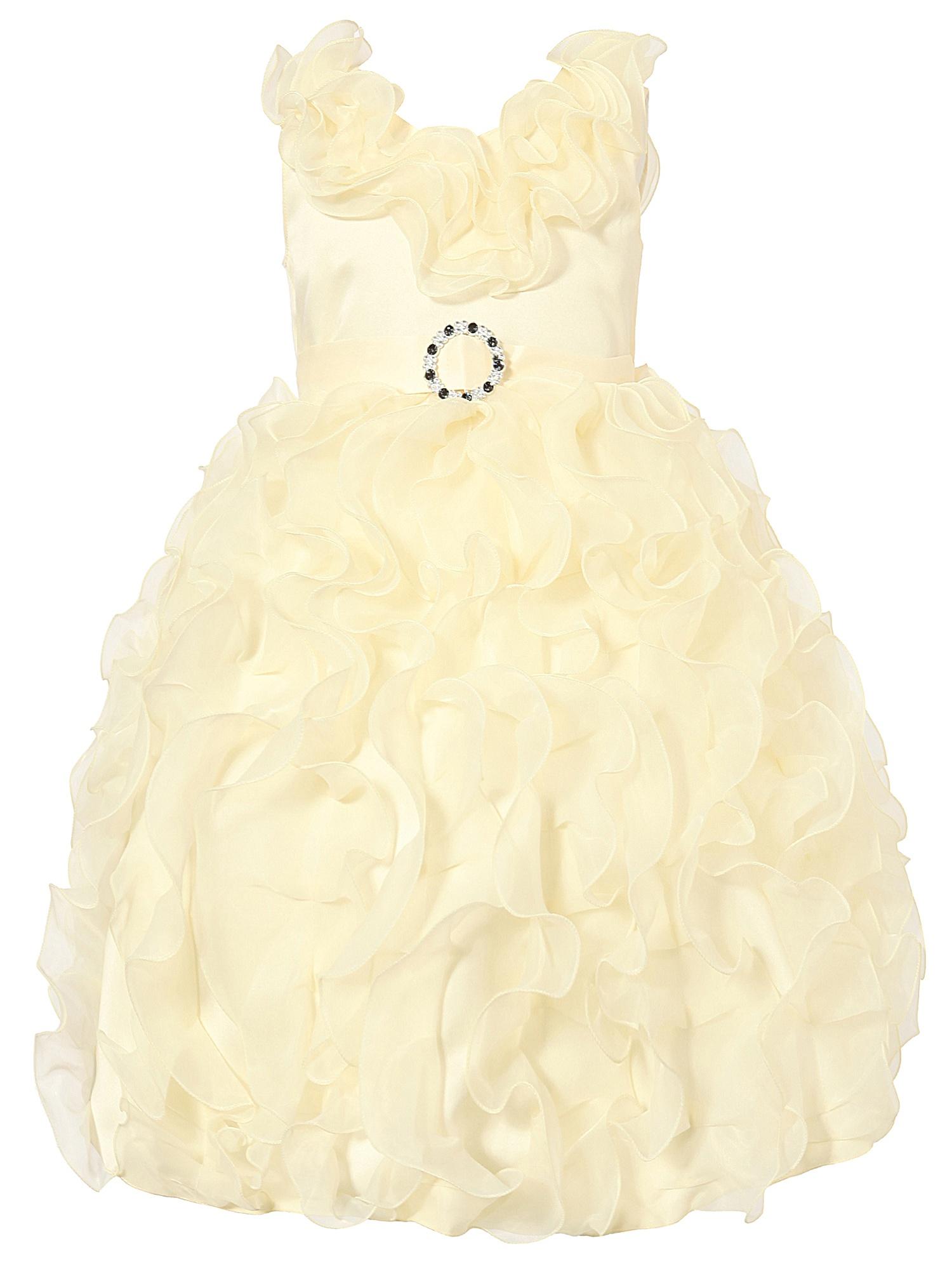 Richie House Little Girls Coral Cascade Ruffle Bridal Dress 3/4