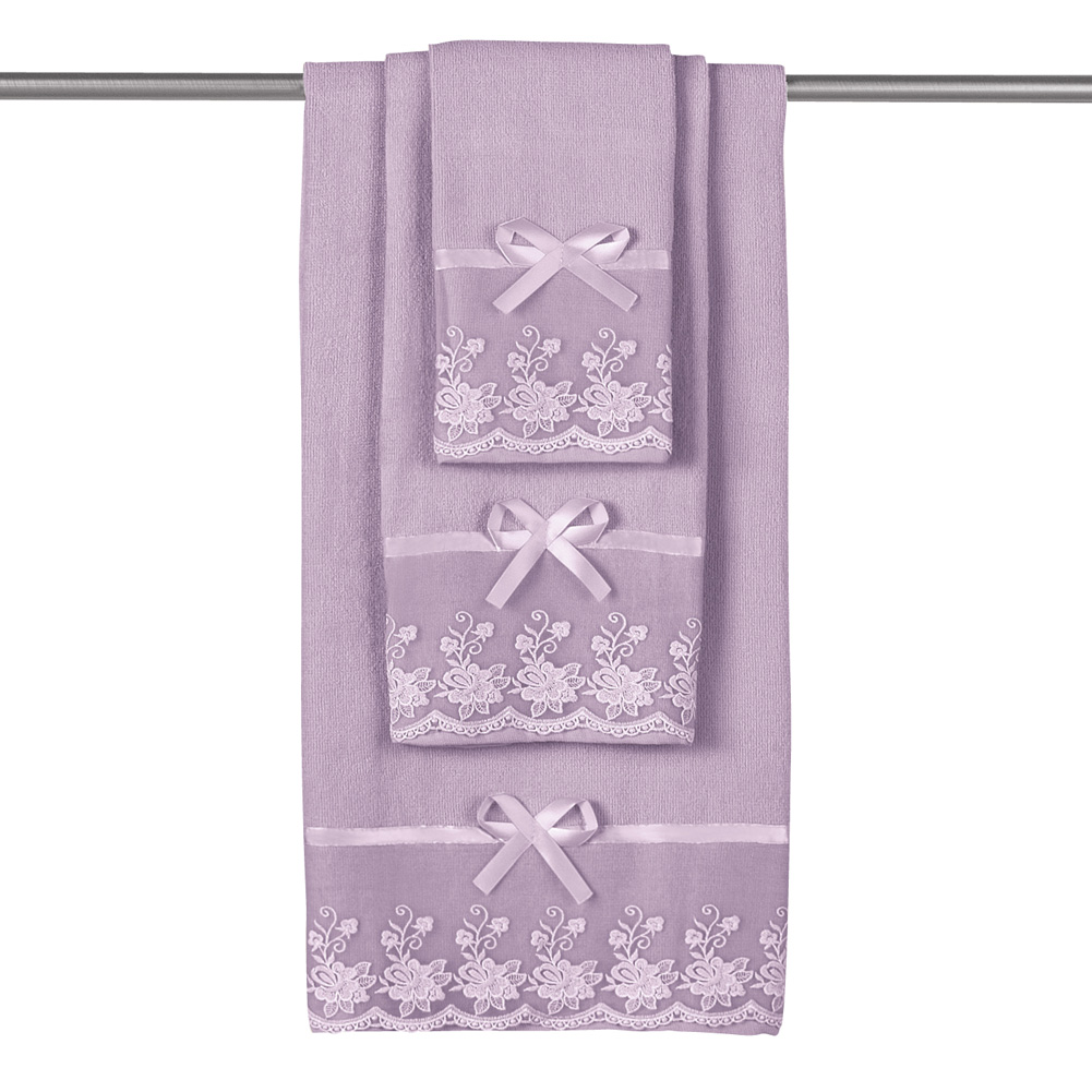 Lace Trim Decorative Display Bath Towel Set with Ribbon Bows 3pc. Set, Blue by Collections Etc