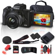 Canon EOS M50 Mark II Mirrorless Digital Camera with 15-45mm Lens (Black) (4728C006) + 64GB Extreme Pro Card + Extra LPE12 Battery + Case + Card Reader + Deluxe Cleaning Set + Memory  Wallet + More
