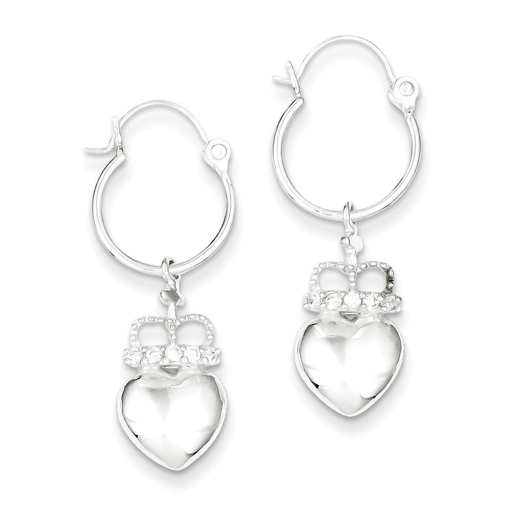 Sterling Silver CZ Heart & Crown Hoop Earrings (1.1IN x 0.3IN )