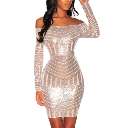 Sequins Nude Mesh Off Shoulder Long Sleeves Dress set with lace panties Mesh Dress Set