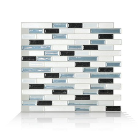 Smart Tiles Mosaik Muretto Brina 10 20'' x 9 10'' Peel & Stick Wall Tile in  Charcoal  White & Stone Blue