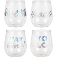 Creative Converting Iridescent Set Of 4 Plastic Stemless Wine Glass By Elise, 4 ct
