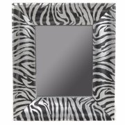 Alluring Striped Wooden Mirror, Black And Silver