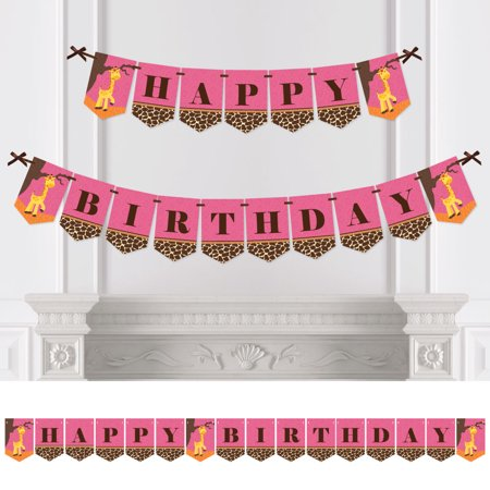 Giraffe Girl - Birthday Party Bunting Banner - Pink Party Decorations - Happy Birthday - Happy Halloween Birthday Girl
