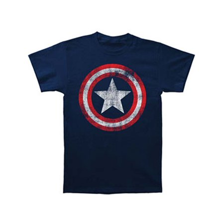 Captain America Marvel Comics Distressed Shield Adult Fitted Jersey T-Shirt Tee
