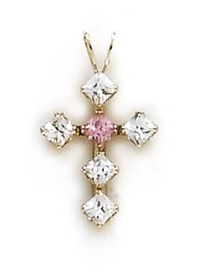 14k Yellow Gold Cross Pink Cubic Zirconia Pendant by Jewelryweb
