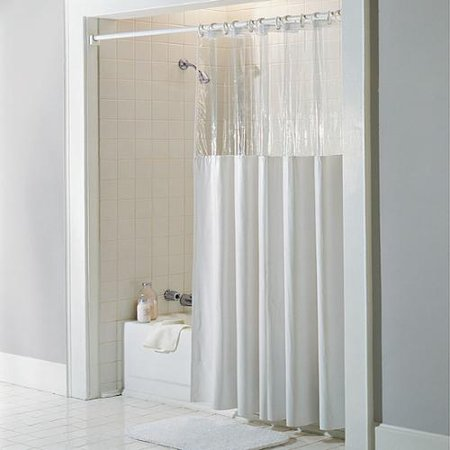Bed Bath N More Antibacterial And Antimicrobial Mildew Resistant See Through Top Clear White Vinyl Shower Curtain