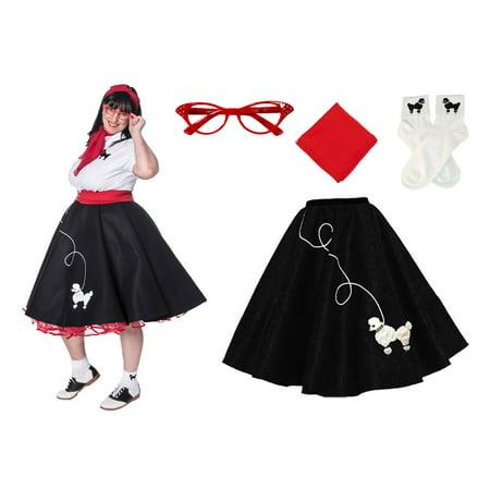 ead2797b455 Plus Size 4 pc - 50 s Poodle Skirt Outfit - Black w Red Acc.   2X -  Walmart.com
