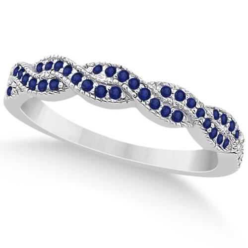 White Gold 1/3ct Blue Sapphire Infinity Semi Eternity Wedding Band 18k White Gold - Size 4