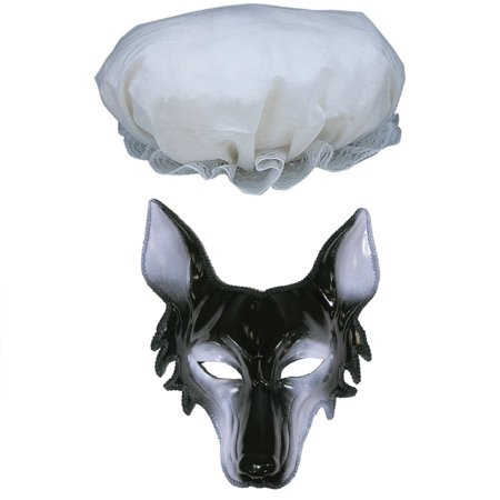 Granny Big Bad Wolf Face Mask Old Woman Mob Cap Mop Hat Costume Accessory Kit