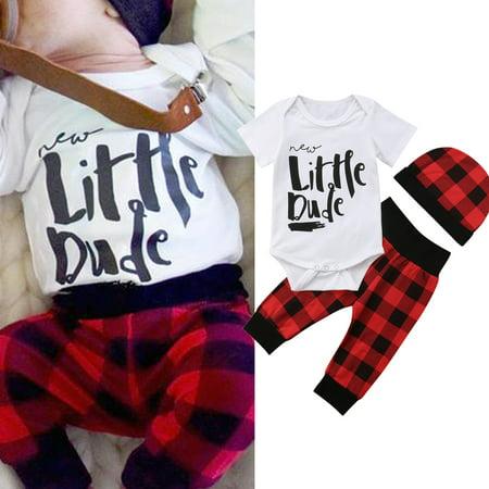 3PCS Summer Newborn Infant Baby Boy Romper Tops+Pants Leggings Hat Cotton Outfits Clothes 0-3 Months