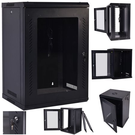 Costway 18U Wall Mount Network Server Data Cabinet Enclosure Rack Glass Door Lock w/ Fan