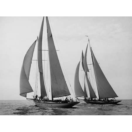 Sailboats Race during Yacht Club Cruise Poster Print by Edwin Levick (22 x