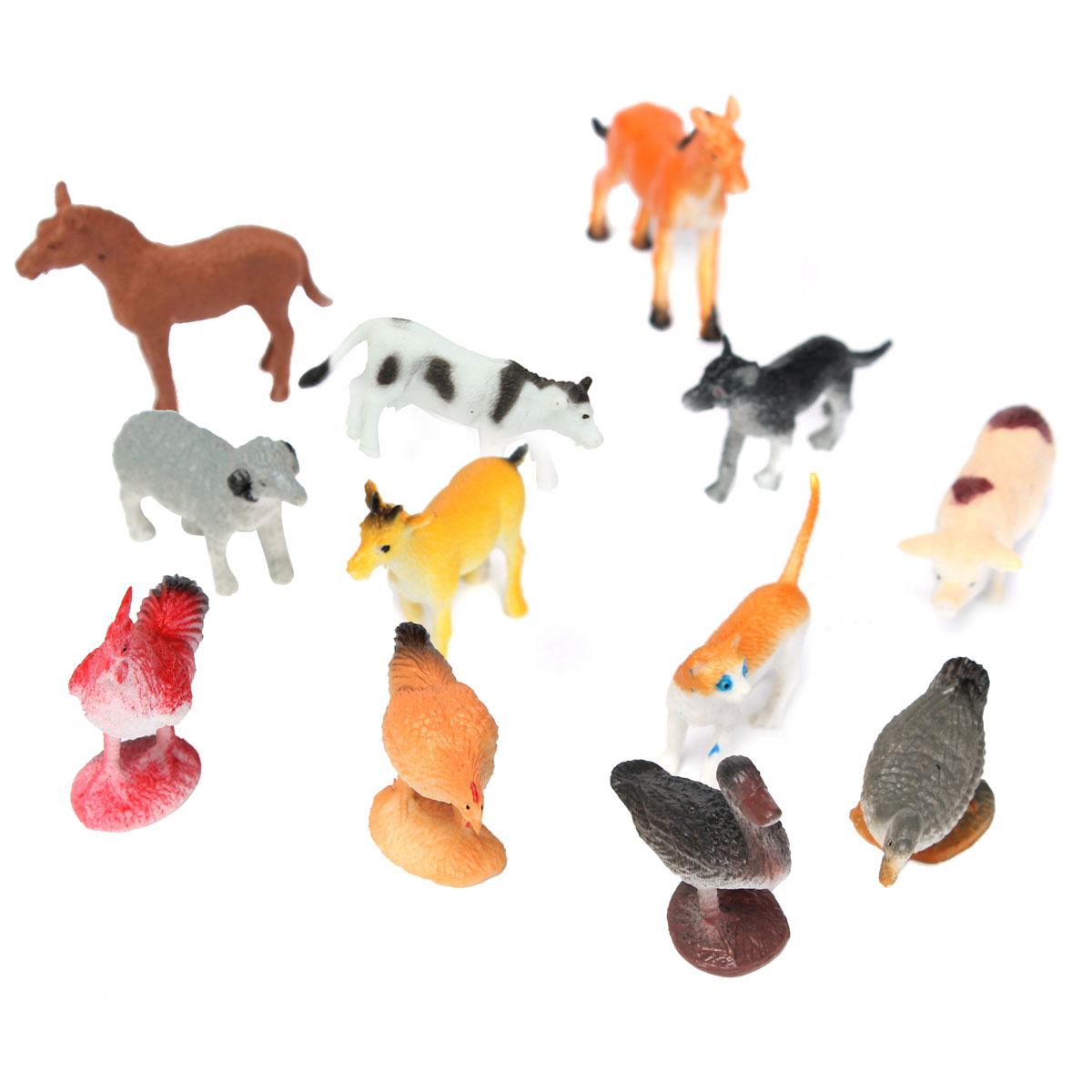 12PCS Farm Yard Figure Education Toys Plastic Pig Cow Horse Dog Animal Model Playset Toy... by