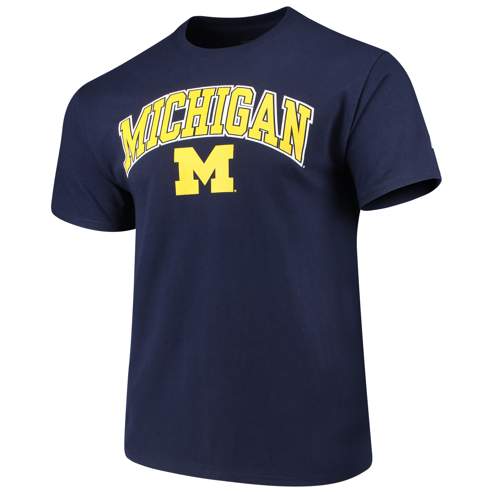 Men's Russell Navy Michigan Wolverines Crew Core Print T-Shirt