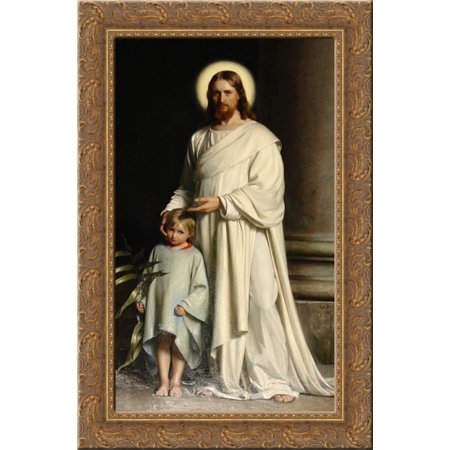 Christ and Child 24x16 Gold Ornate Wood Framed Canvas Art by Carl Bloch