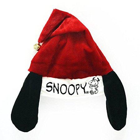 Peanuts Snoopy Charlie Brown Santa Hat with Ears & Bell - Adjustable (Snoopy) (Snoopy Hat)