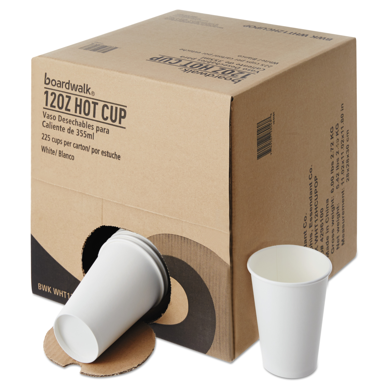 Boardwalk Convenience Pack Paper Hot Cups, 12 oz, White, 225/Carton -BWKWHT12HCUPOP
