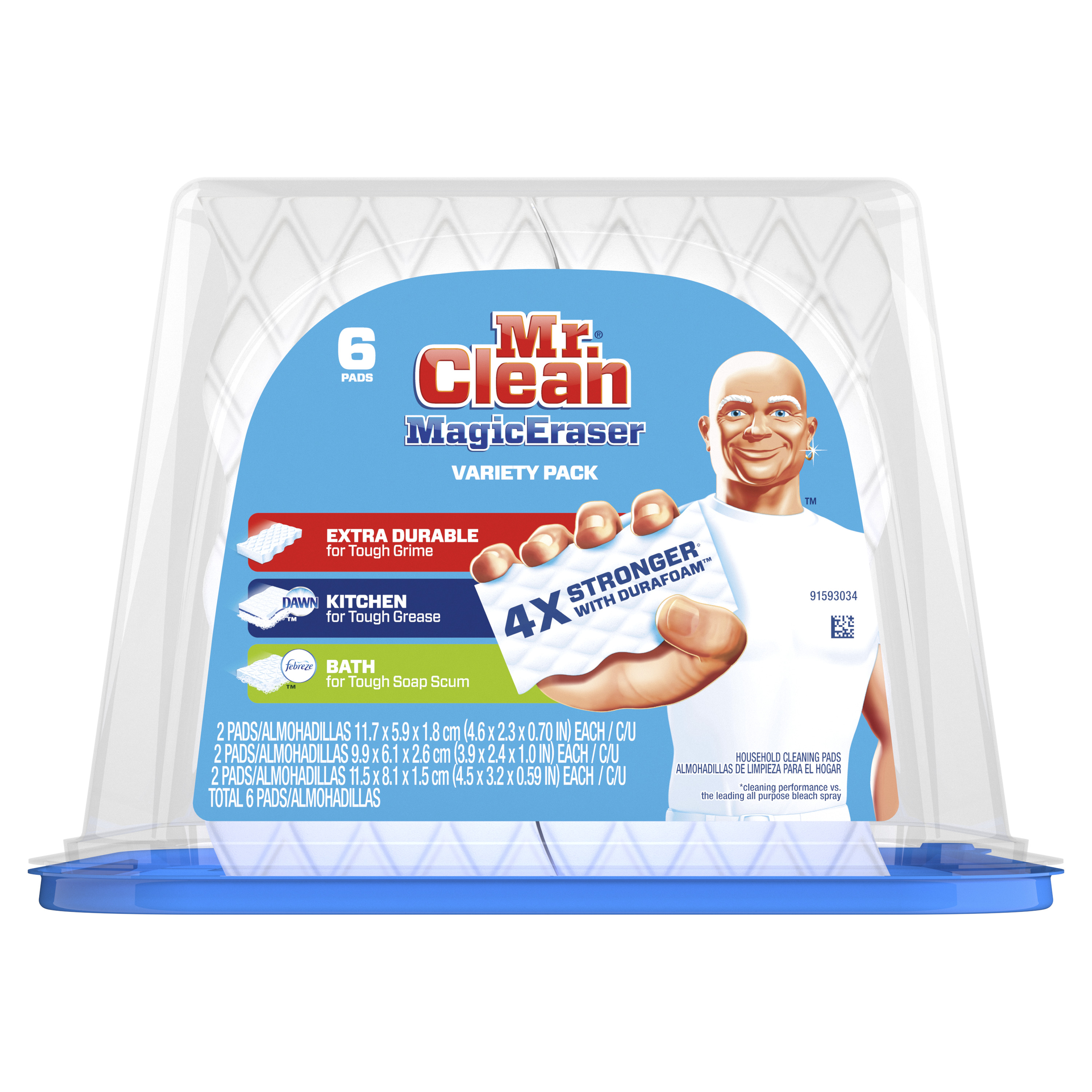 Mr. Clean Magic Eraser Variety Pack, Cleaning Pads with Durafoam, 6 count