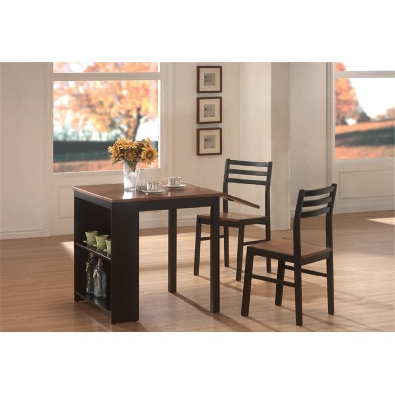 Bowery Hill 3 Piece Dining Set in Walnut and Black