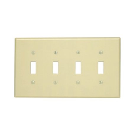 Leviton 80512-I Ivory Midway Four Gang Toggle Light Switch Wall Plate