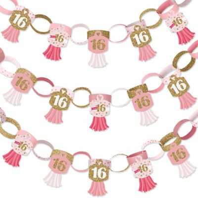 Aqua Sweet 16 Decorations (Sweet 16-90 Chain Links and 30 Paper Tassels Decoration Kit - 16th Birthday Party Paper Chains Garland - 21)