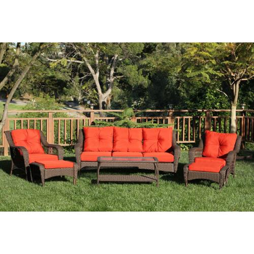 6-Piece Espresso Resin Wicker Outdoor Patio Seating Furniture Set - Red-Orange Cushions