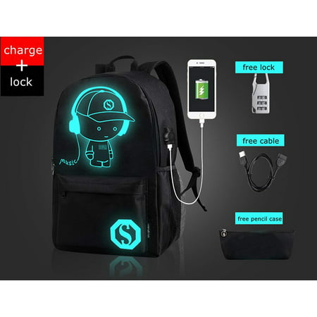 Fashion Luminous Backpack with USB Charging Port and Lock, fashion Glow In The Dark Backpack Laptop Bag Shoulder Day pack Handbag for Boys, Girls, Men, Women,