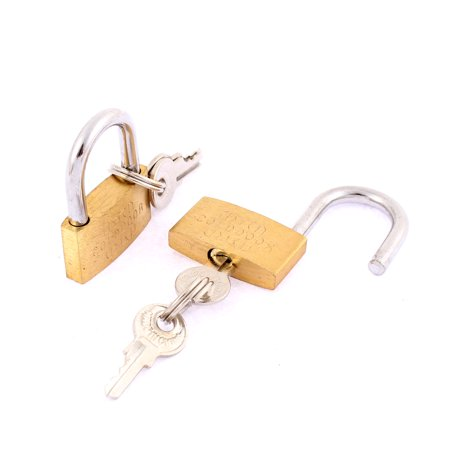 2pcs School Office Desk Lock Travel Suitcase  Padlock with key Bronze Tone ()