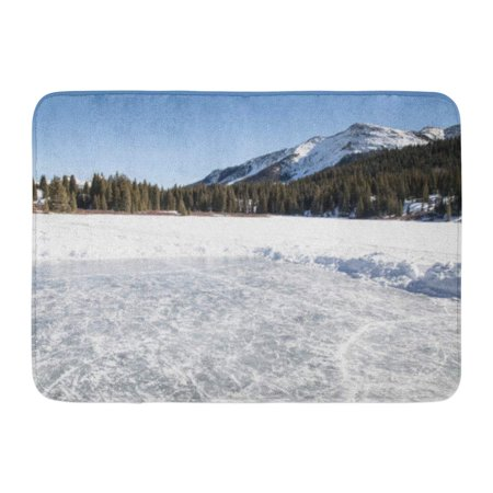 Hockey Ice Rink - GODPOK Frozen White Beautiful Pond Ice Rink in The Mountains of Colorado Elevation Hockey Rug Doormat Bath Mat 23.6x15.7 inch