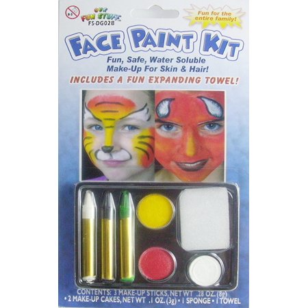 Halloween 5-Color Face Painting Kits - Fun Safe Water Soluble Make-Up For Skin And Hair (White-Black-Green-Yellow-Red) By Our Fun STuff (Halloween Face Painting Near Me)