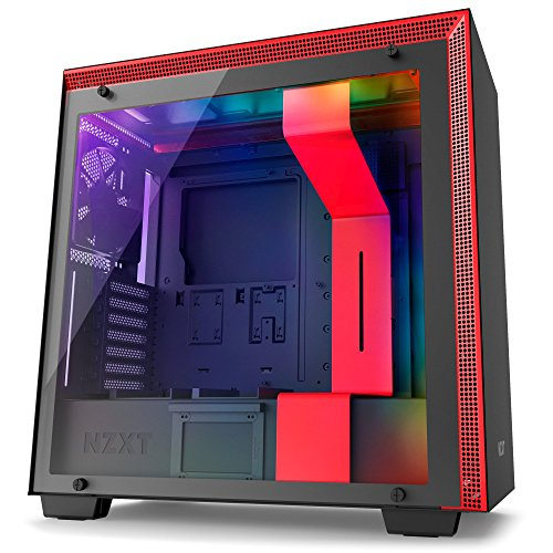 Nzxt CA-H700W-BR H700i No Power Supply Atx Mid Tower W/ Lighting And Fan Control (matte Black/red)