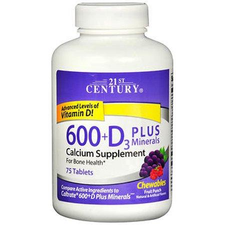 - 21st Century 600+D3 plus Minerals Calcium Chewables Fruit Punch - 75 ct