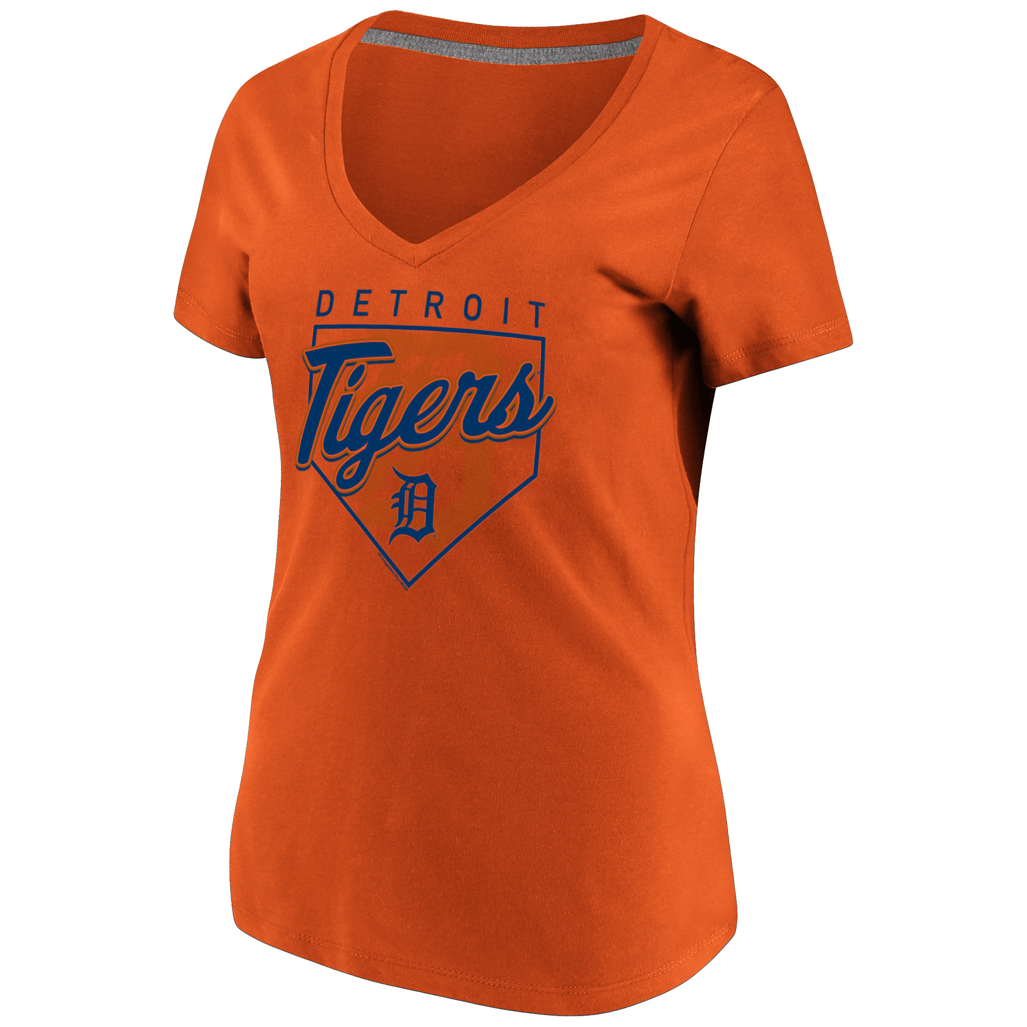 Women's Majestic Orange Detroit Tigers Cling to the Lead V-Neck T-Shirt