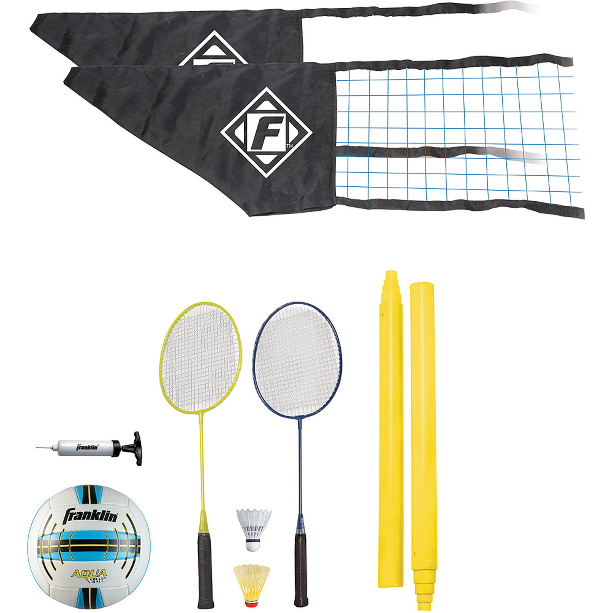 Franklin Sports Quik-Set Volleyball and Badminton Set