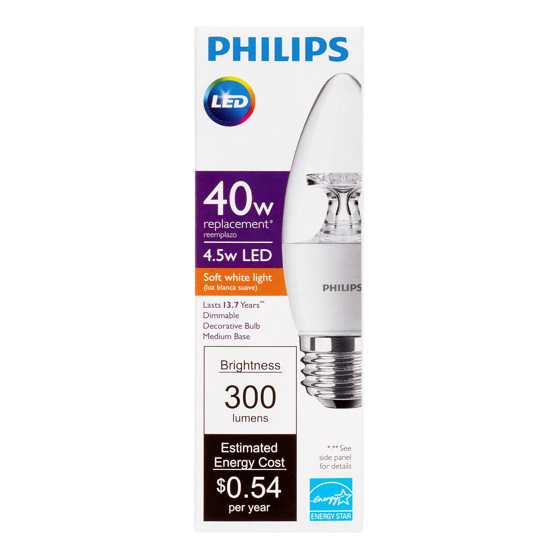Philips LED Dimmable Decorative Light Bulb, B11, Soft White, 40 WE, Medium Base