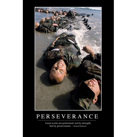 Perseverance - Inspirational Quote and Motivational Poster It reads Great works are performed not by strength but by perseverance ~ Samuel Johnson Poster Print
