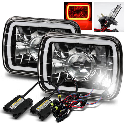 Modifystreet® 6000K H4-2 HID + Hi-Power Red LED 3D-Halo Tube H6014/H6052/H6054 7x6 Semi-Sealed Beam Projector Headlights Conversion Kit - Black Crystal
