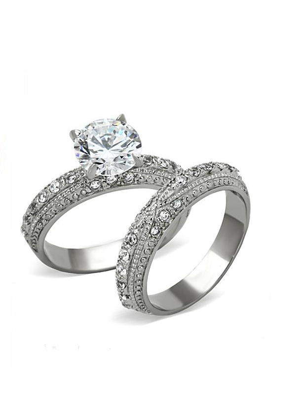 Stainless Steel Engagement Ring with Wraparound CZ in 8 Sizes R48
