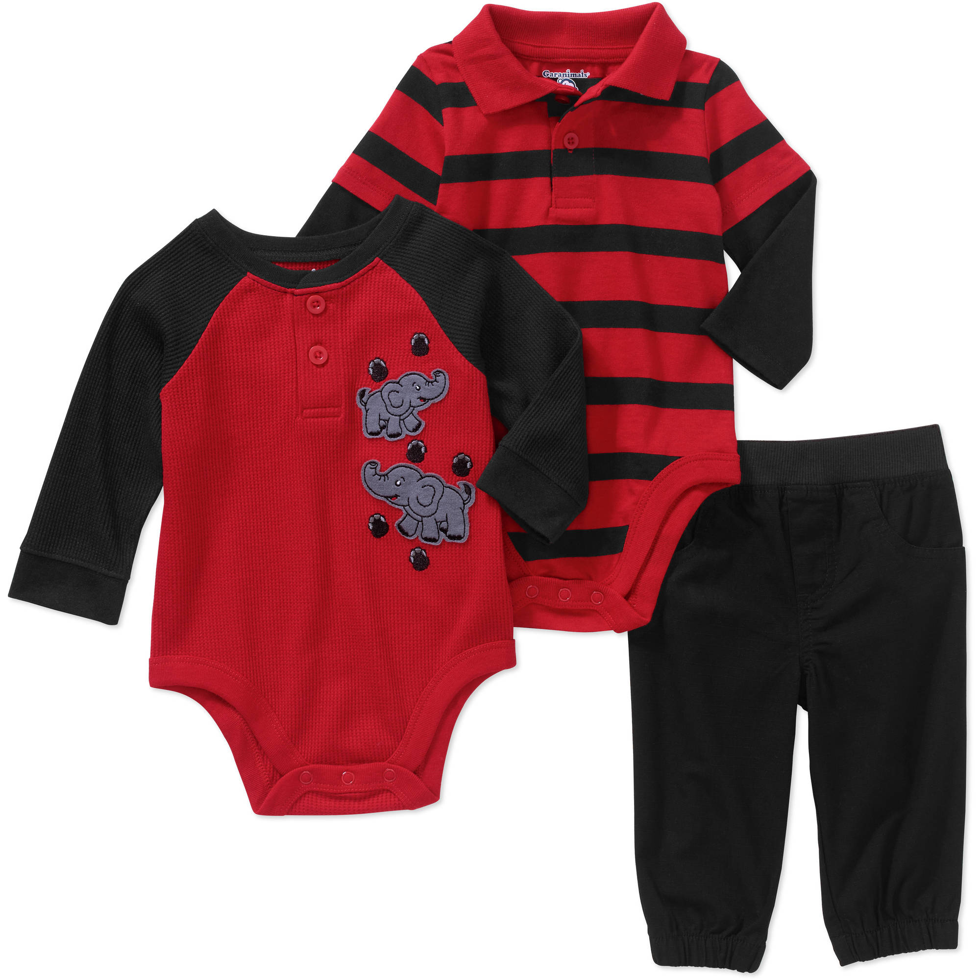 Garanimals Newborn Baby Boys' Hangdown Stripe Polo Bodysuit, Thermal Raglan Graphic Bodysuit and Woven Pants 3-Piece Outfit Set