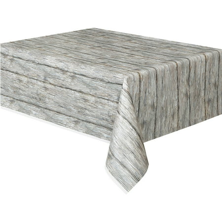 Grey Chevron Plastic Tablecloth ((6 pack) Rustic Wood Plastic Party Tablecloth, 108 x)