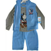 Thomas and Friends Little Boys Gray Blue Train Print Vest Shirt 3 Pc Pants Set 12-24M