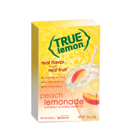 True Lemon, Drink Mix, Peach Lemonade (Pack of 18) (Lemonade Store)