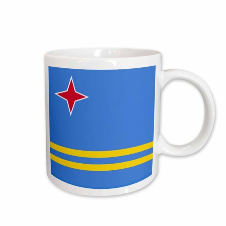 3dRose Flag of Aruba - Blue with red star and yellow stripes - Caribbean ABC island Leeward Lesser Antilles - Ceramic Mug, 11-ounce Blue Flag Yellow Stripe