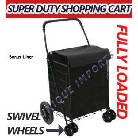 Jumbo Folding Rolling Grocery Basket Shopping Black Swivel Wheel Cart With Covered Liner