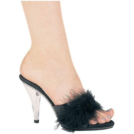 Ellie Shoes E-405-Sasha 4 Heel Maribou Slippers Black / 7 - Slipper Heels Shoes